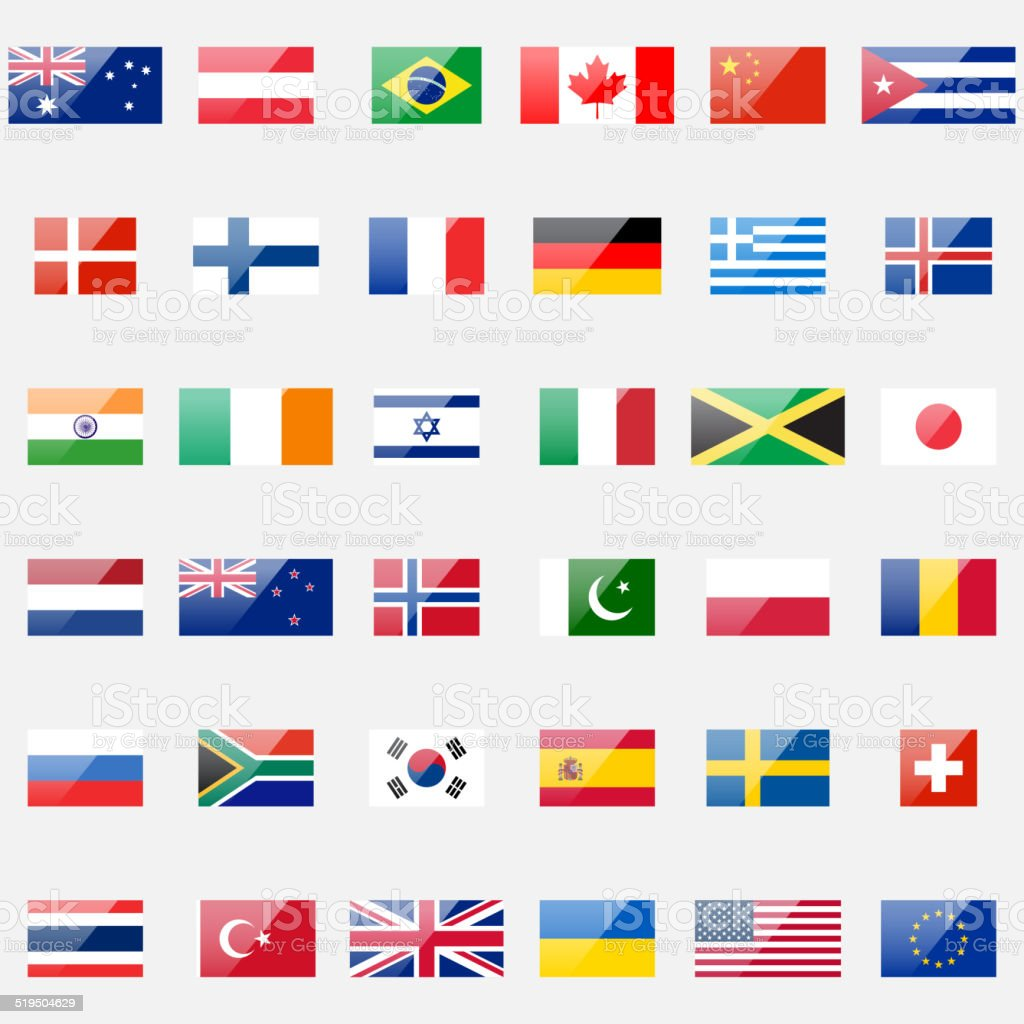 World Flags vector art illustration