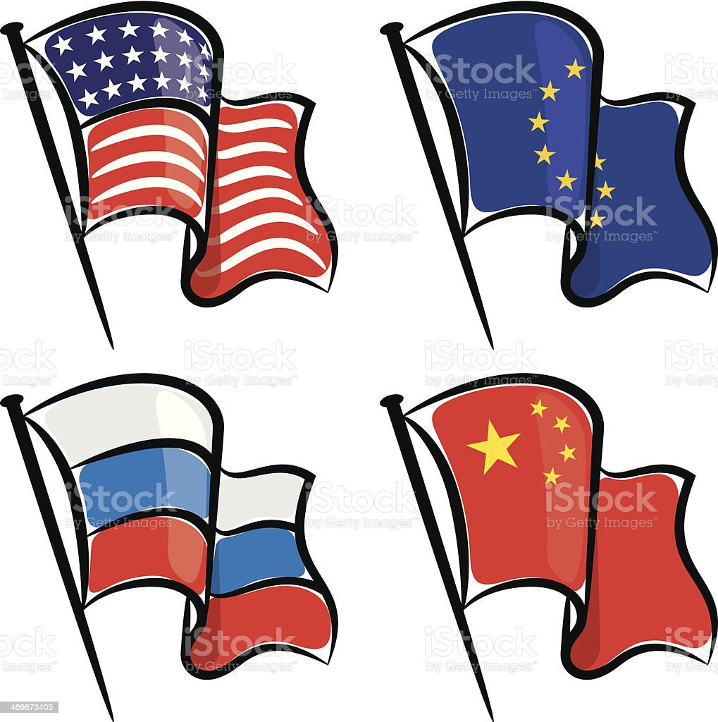 World flags waving set royalty-free stock vector art