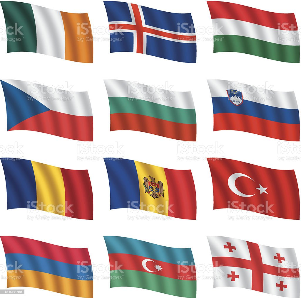 World flags waving royalty-free stock vector art