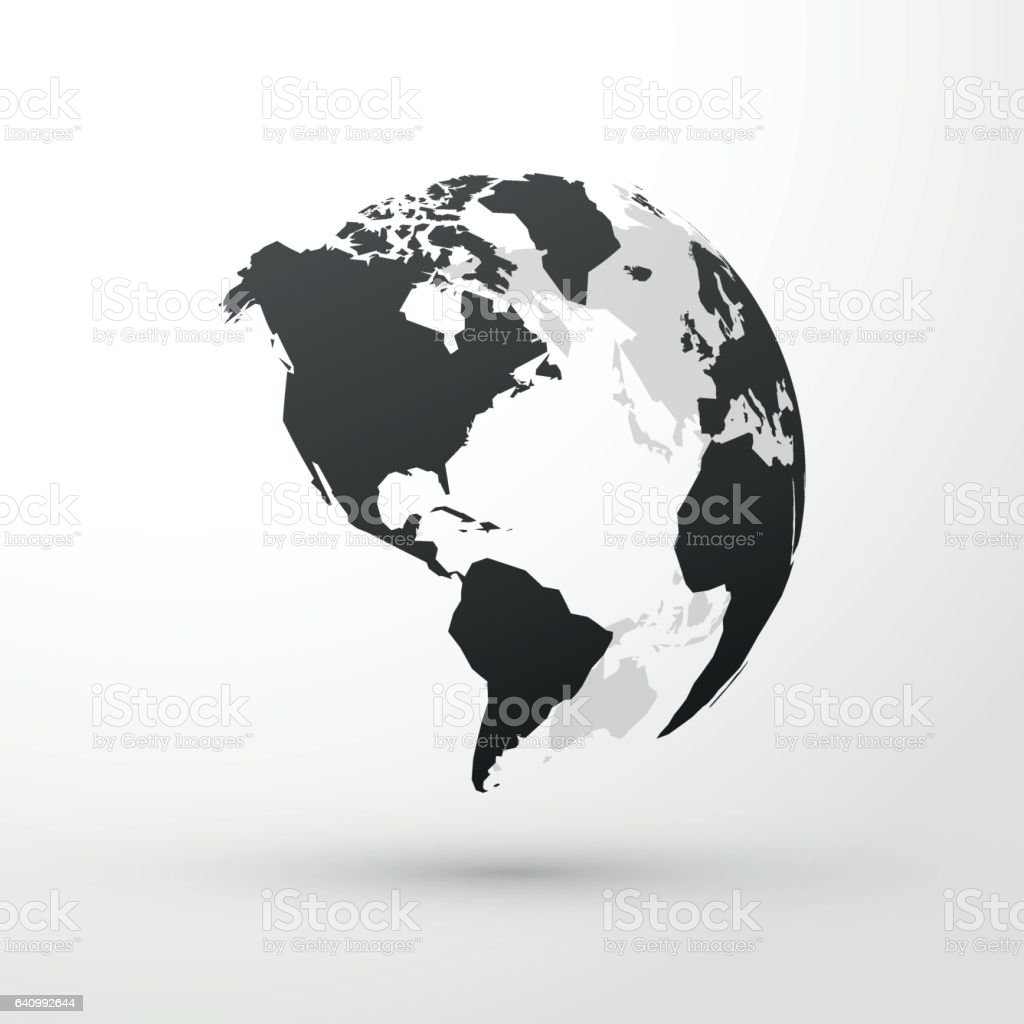 World globe north, central and south america vector art illustration