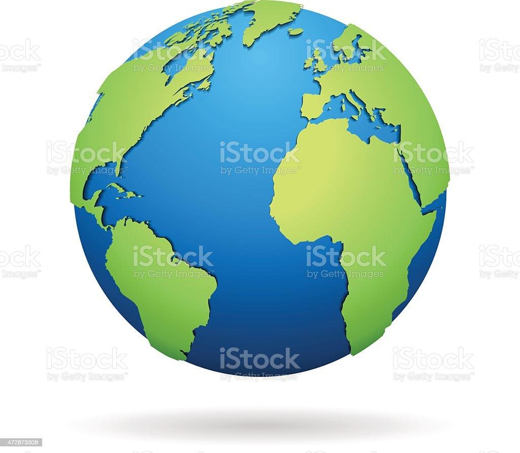 World globe on white background vector art illustration