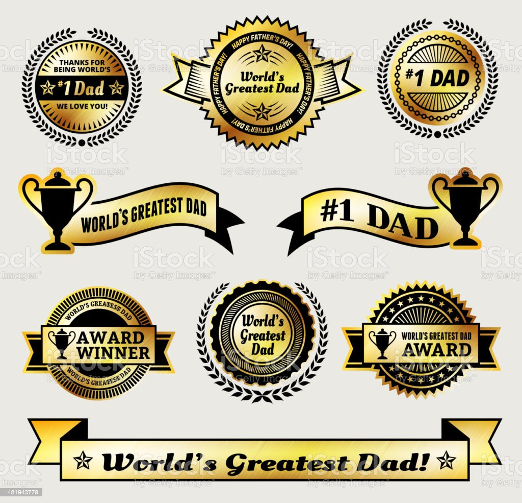 World Greatest #1 Dad gold Vector Icon badge set royalty-free stock vector art