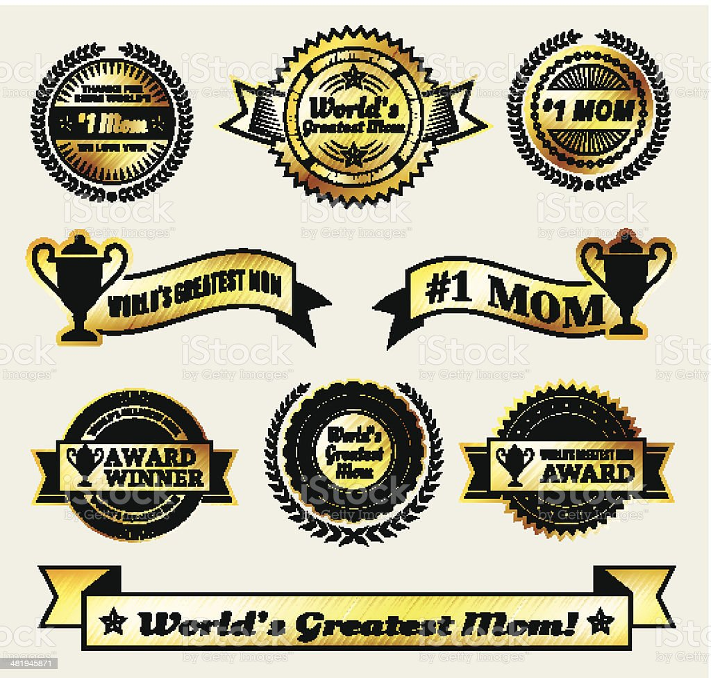 World Greatest #1 Mom gold Vector Icon badge set royalty-free stock vector art