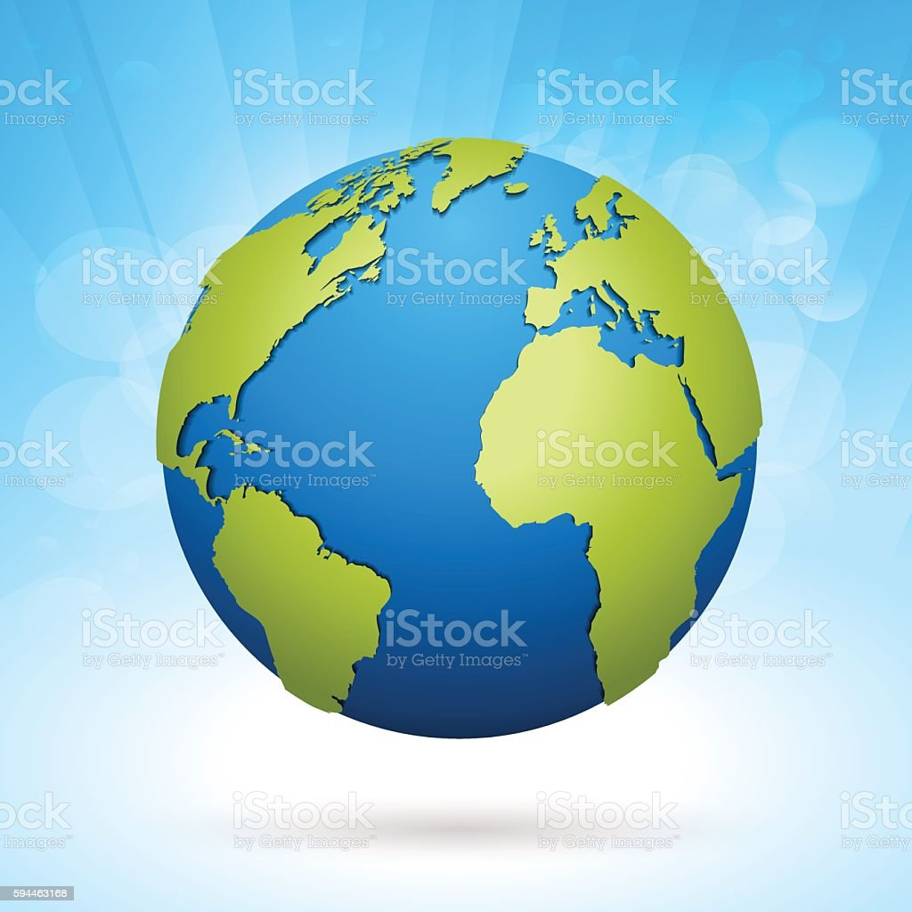 World green globe on sky blue horizon background vector art illustration