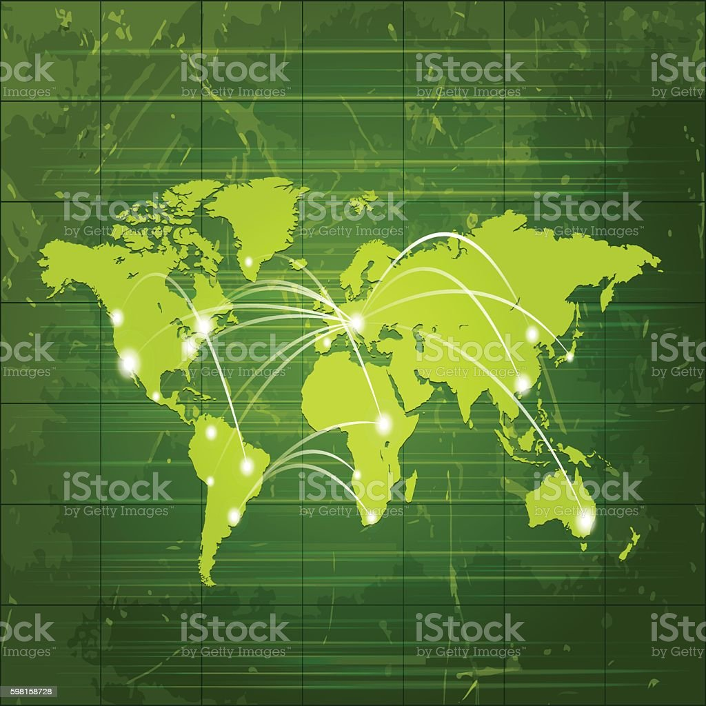 World green gobal map dark on grungy metal background vector art illustration