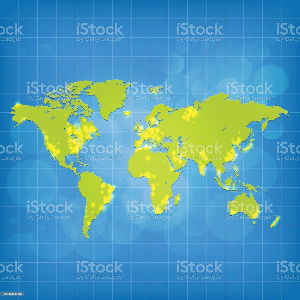 World green map light pollution on grid sky background vector art illustration