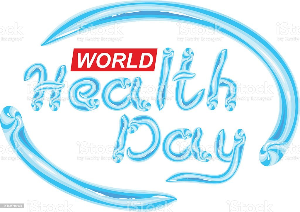 World Health Day. Blue Toothpaste lettering text vector art illustration
