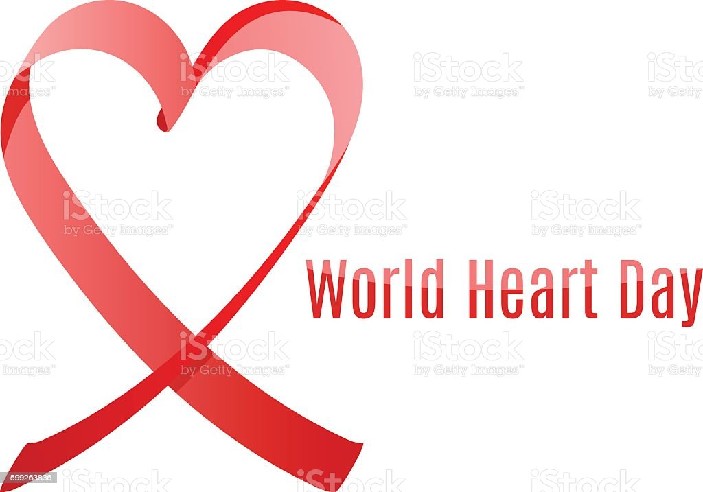 world heart day ribbon vector art illustration