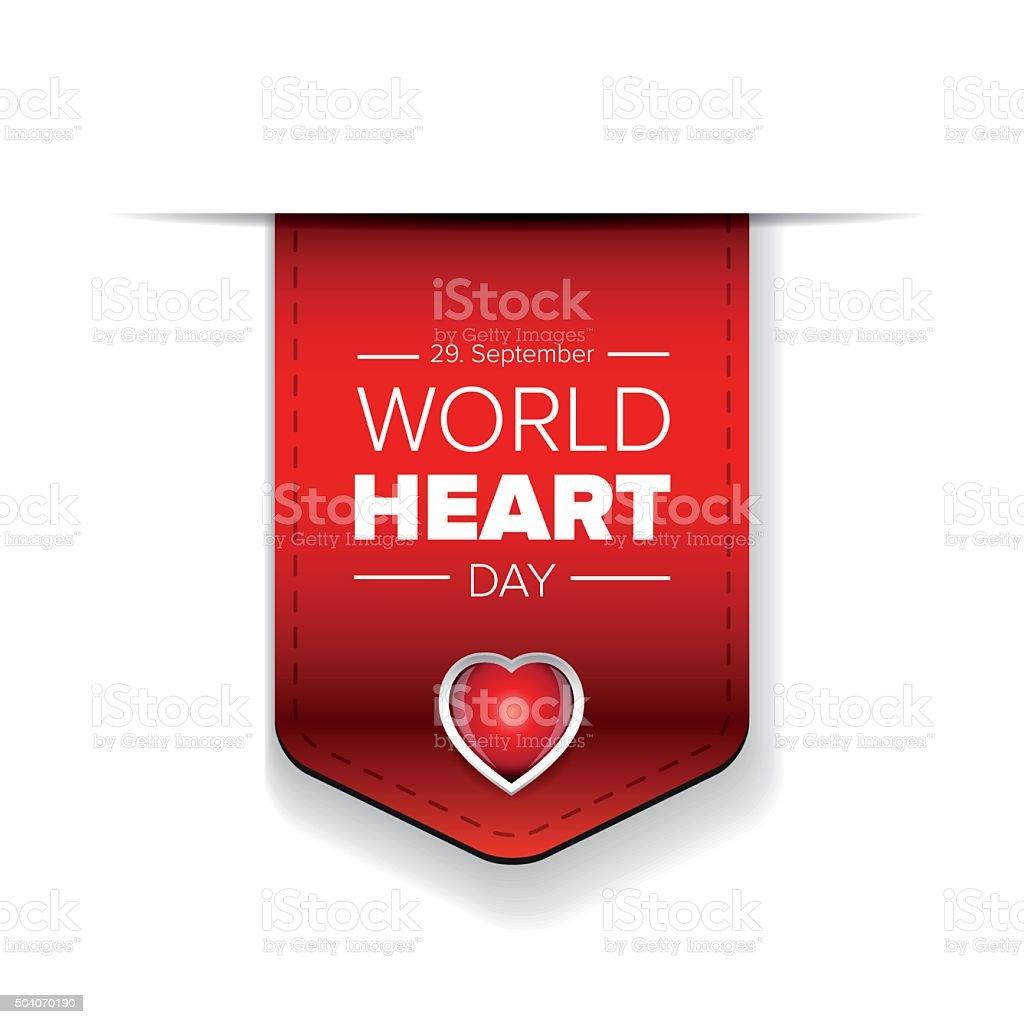 World Heart Day vector ribbon vector art illustration