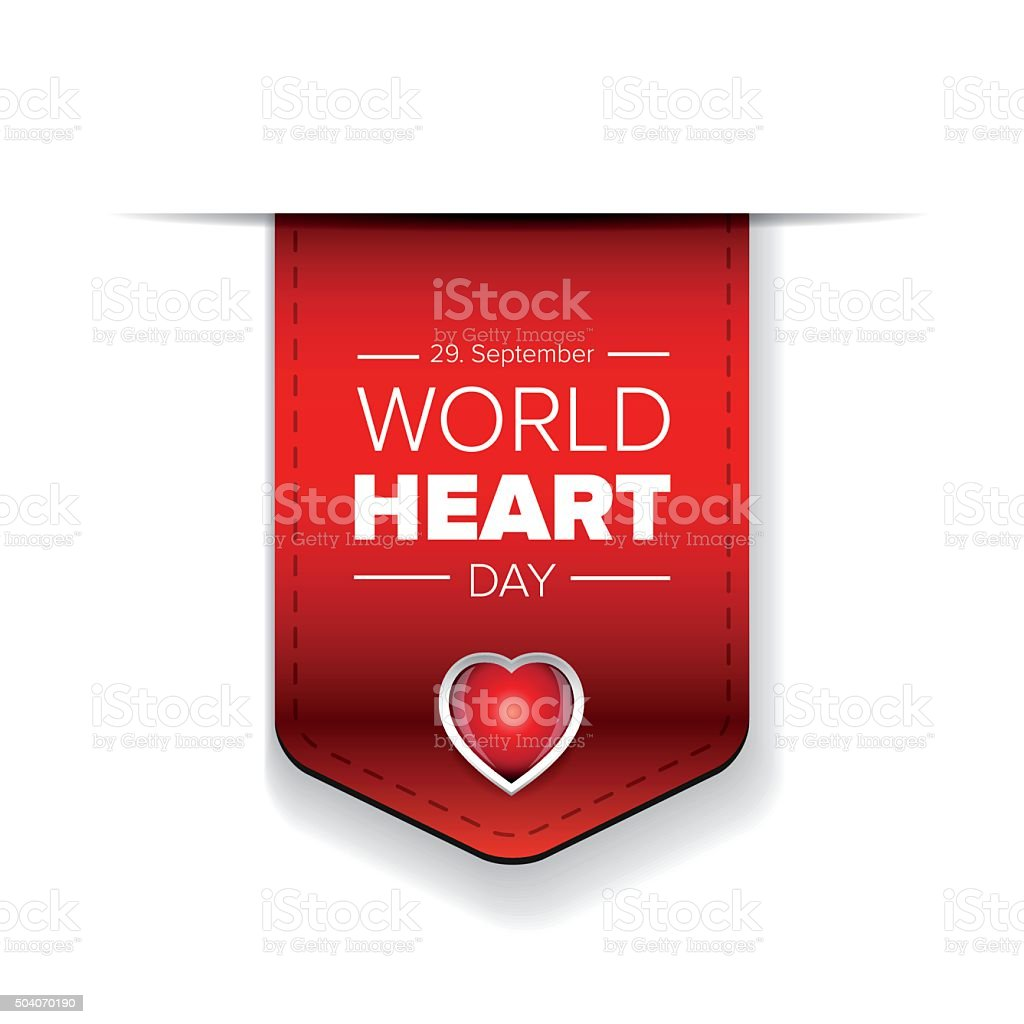 World Heart Day vector ribbon vector art illustration