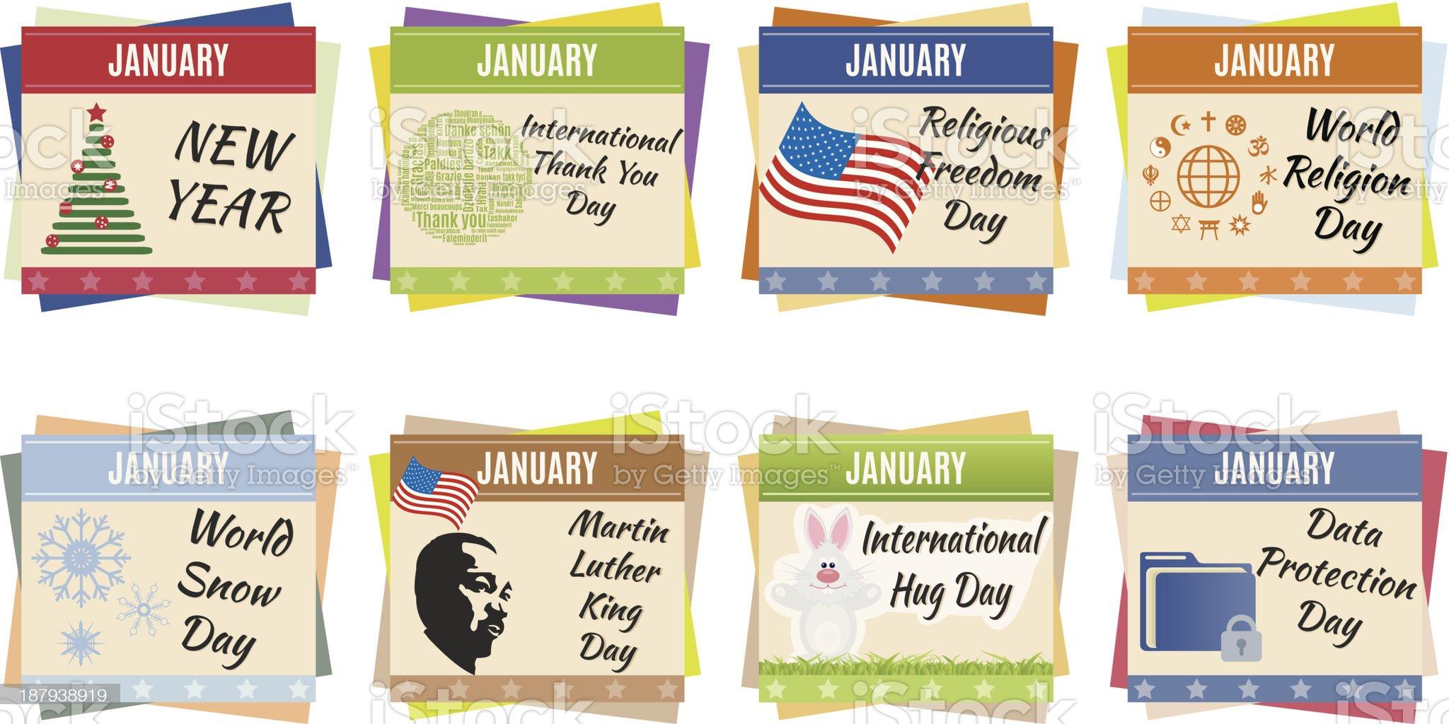 World holidays. January royalty-free stock vector art