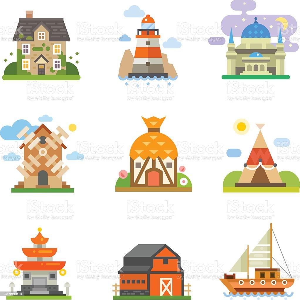 World houses vector art illustration