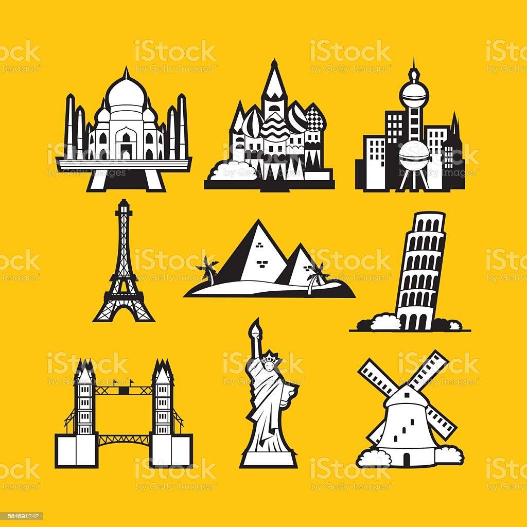 World Iconic Landmarks Line Art Style vector art illustration