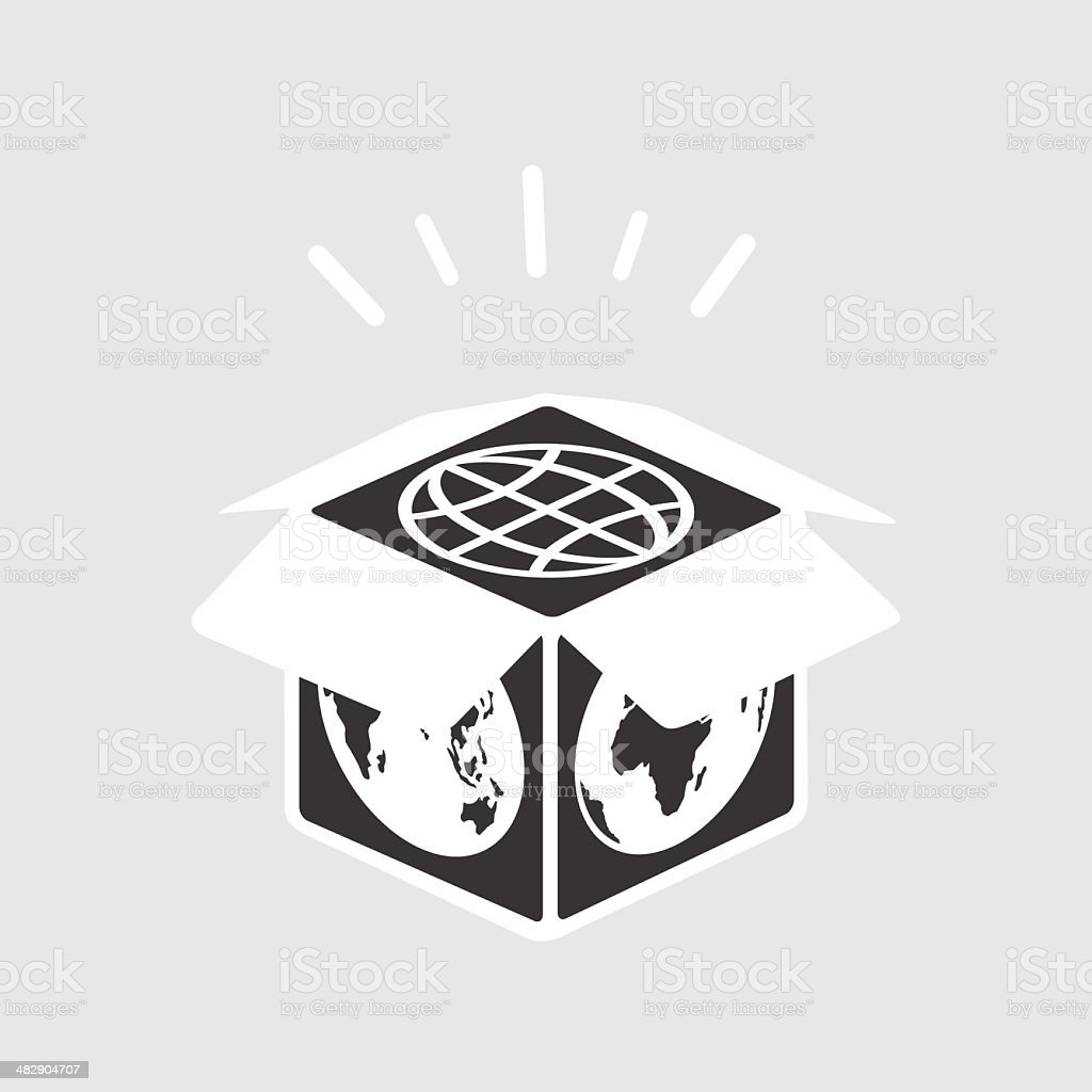 World in a box vector art illustration
