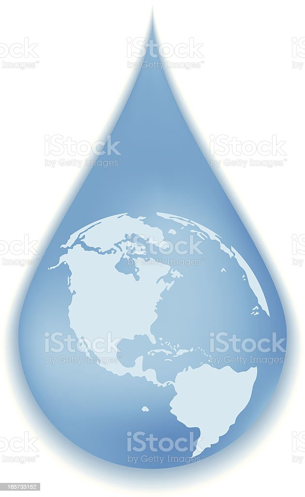World in a drop of water vector art illustration