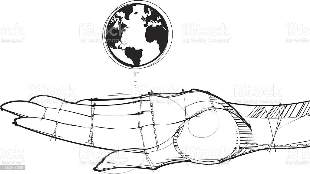 World in the Palm of a Hand royalty-free stock vector art