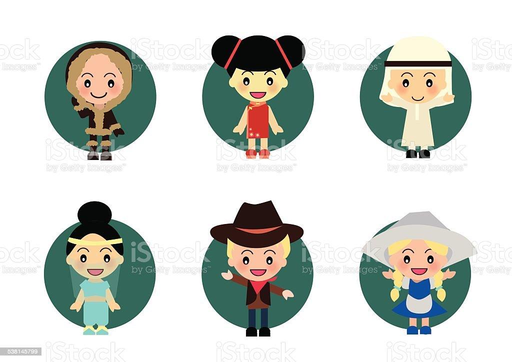 World Kids : China Arabian Europe Eskimo vector art illustration