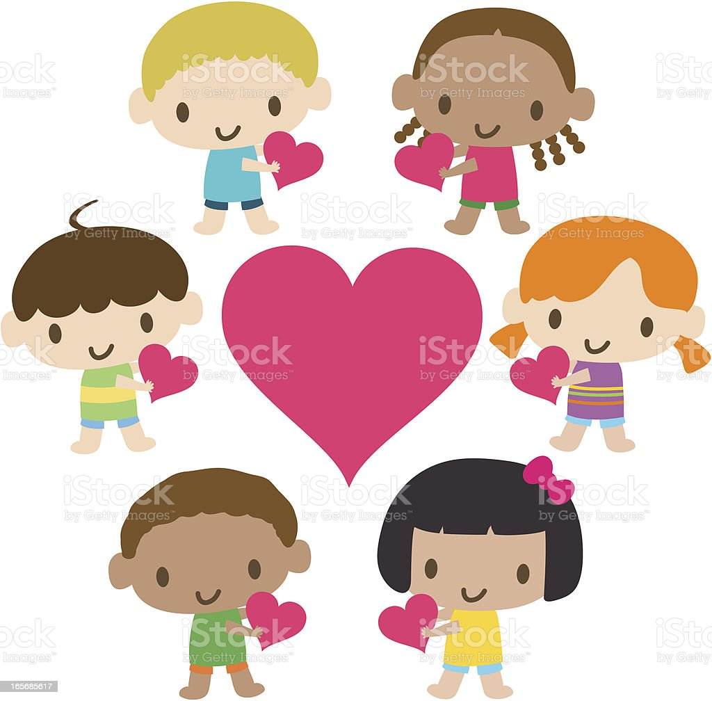 World Kids: Multicultural children showing love royalty-free stock vector art