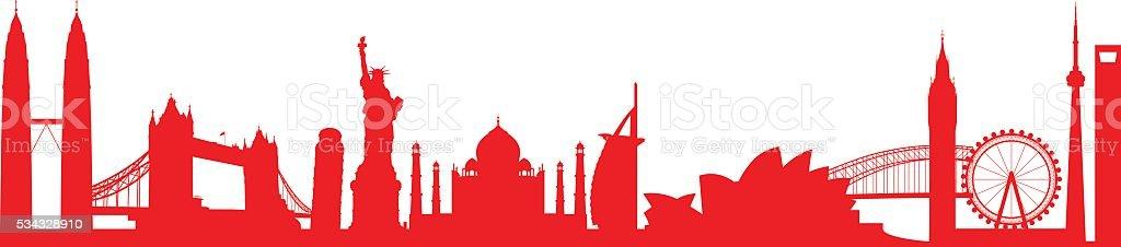 world landmark group vector art illustration