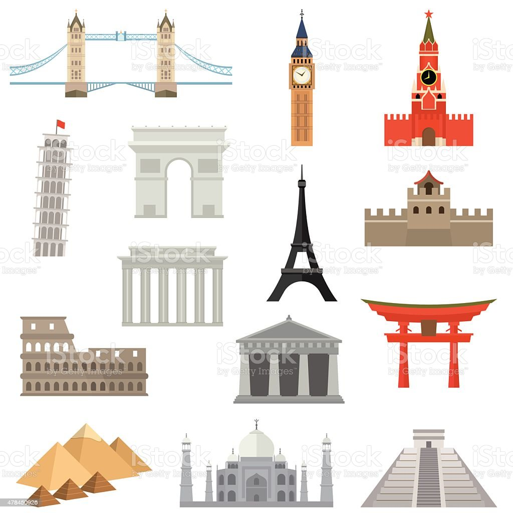 World Landmark Icon Set vector art illustration
