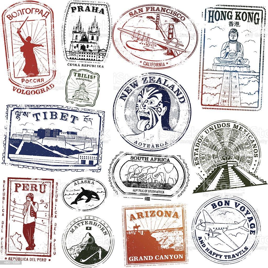 World Landmark Stamps vector art illustration
