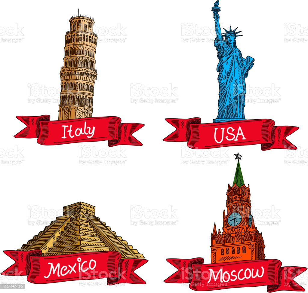 World Landmarks Drawing vector art illustration