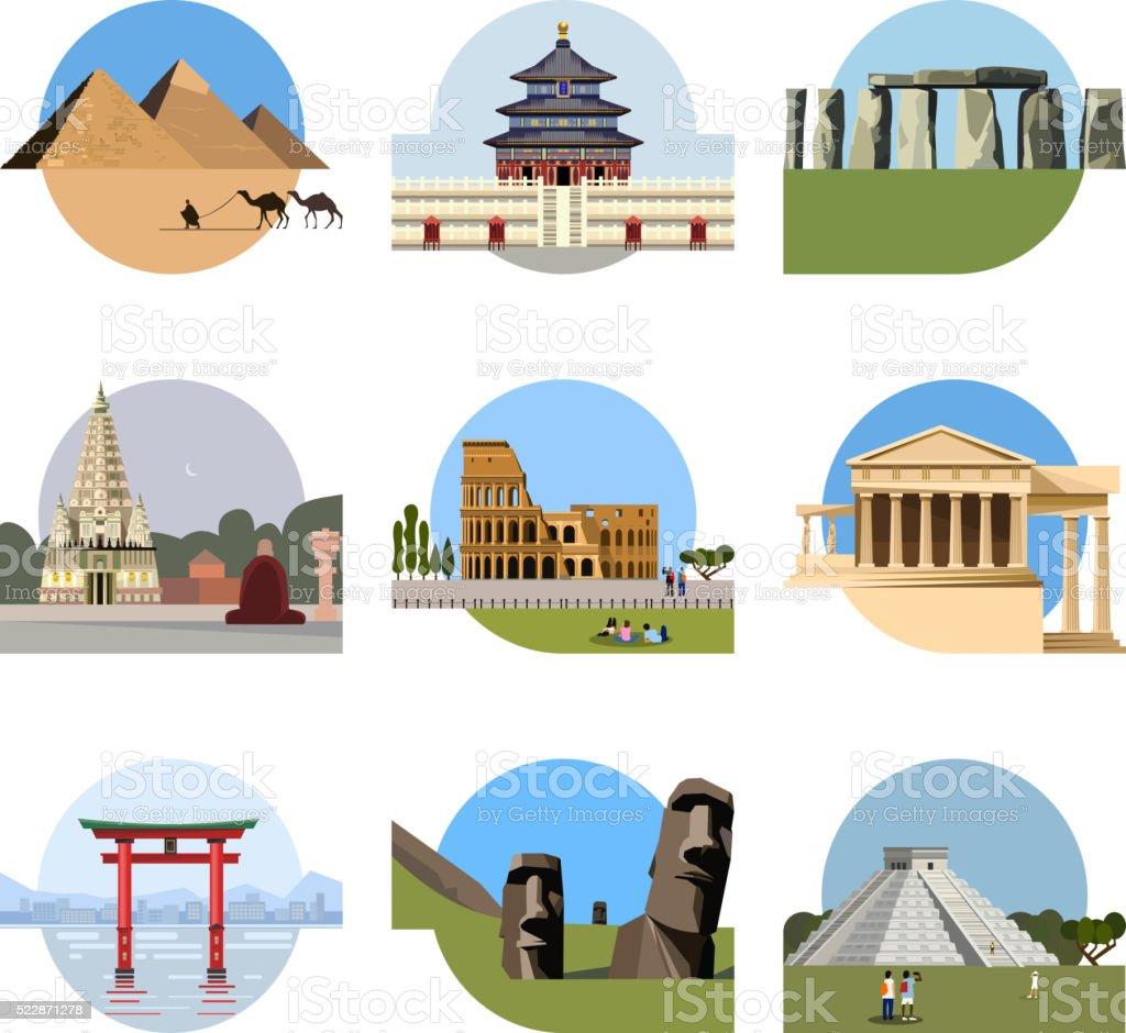 World landmarks flat icon set vector art illustration