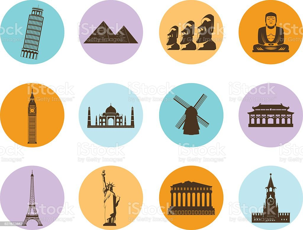 World landmarks flat icons set. Vector royalty-free stock vector art