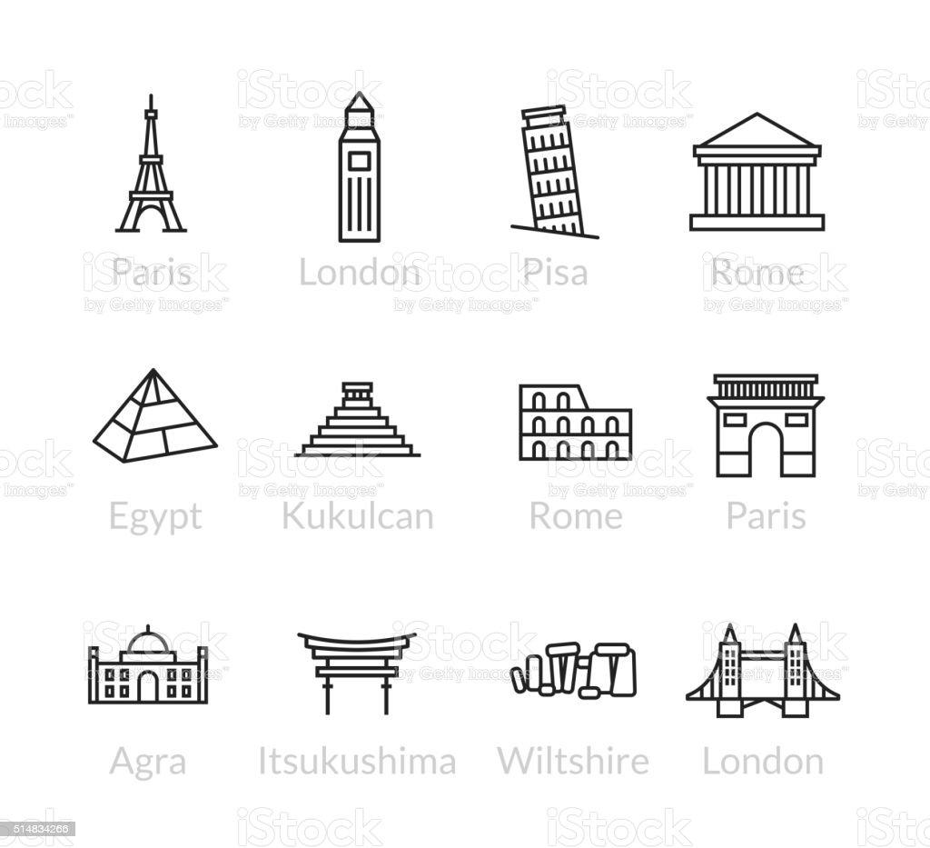 World landmarks outline icons set vector art illustration