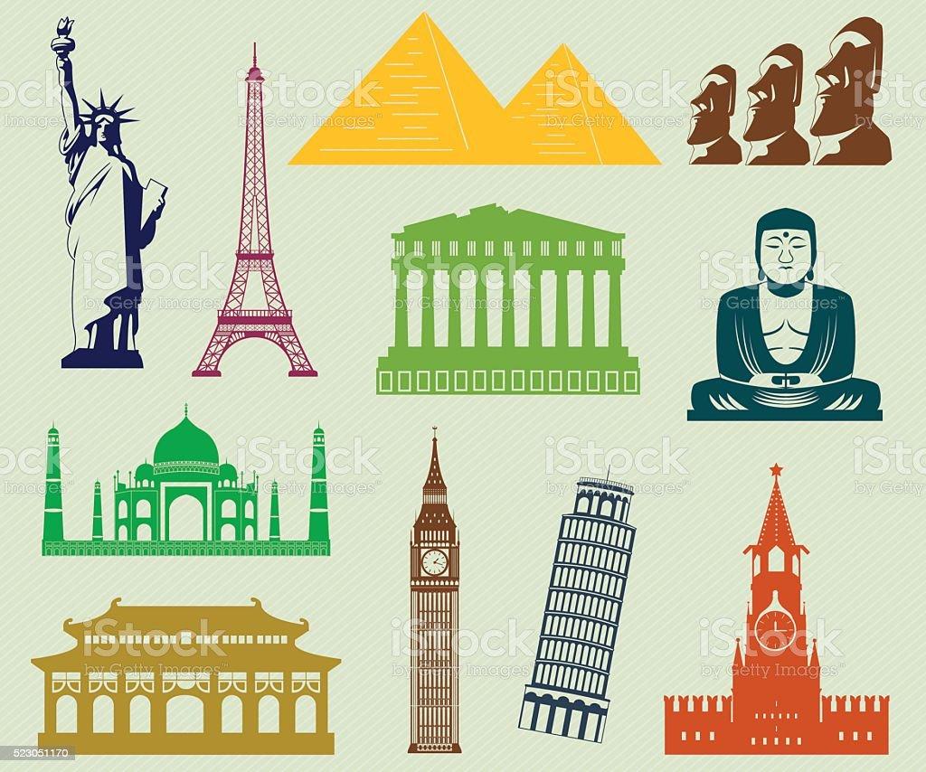 World landmarks silhouettes elements set. Vector Illustration royalty-free stock vector art
