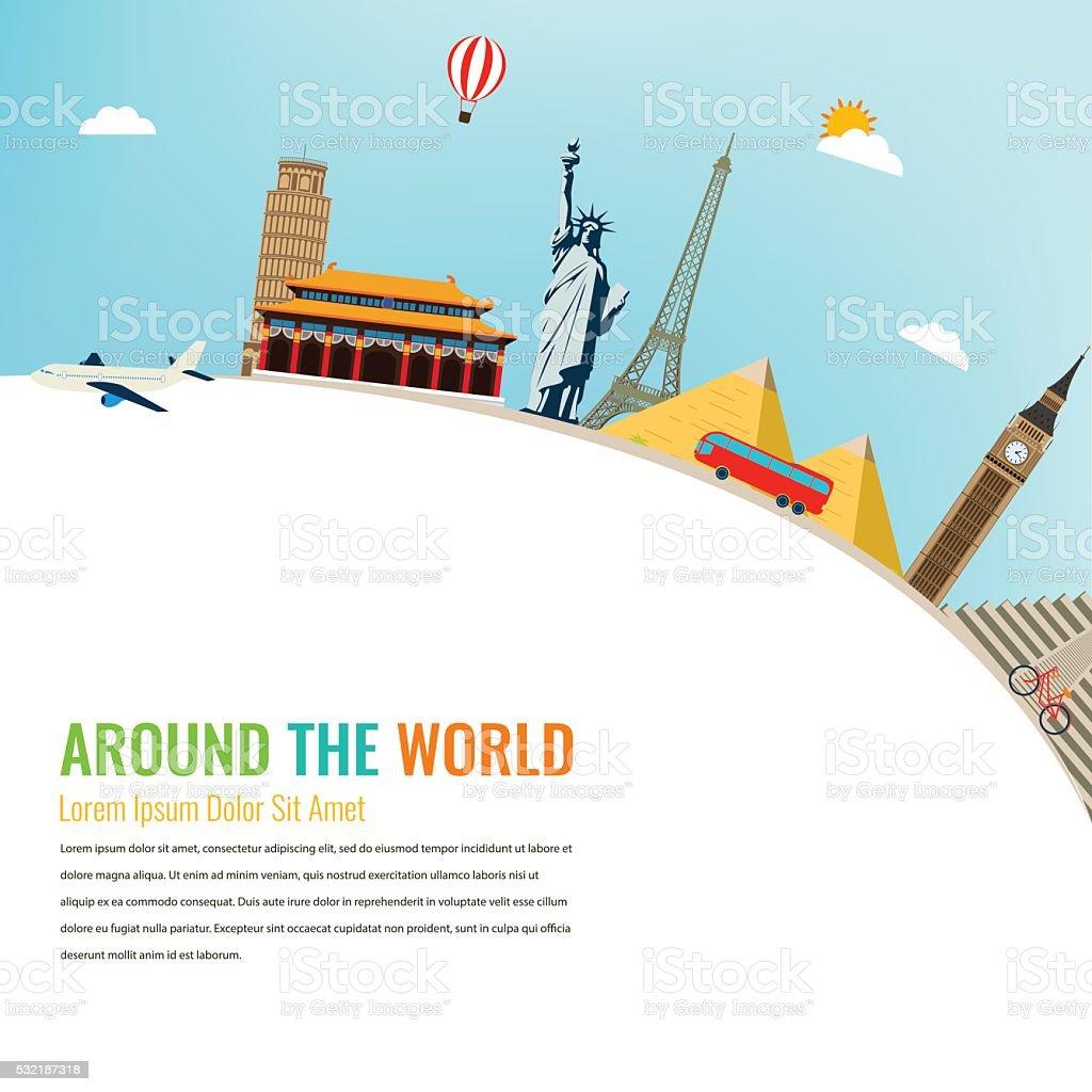 World landmarks. Travel and tourism background. Vector flat illustration royalty-free stock vector art