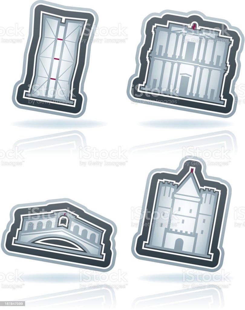 World Landmarks vector art illustration