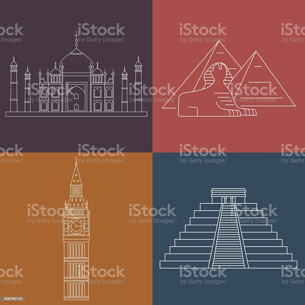 World Landmarks. Vector line icons set. vector art illustration