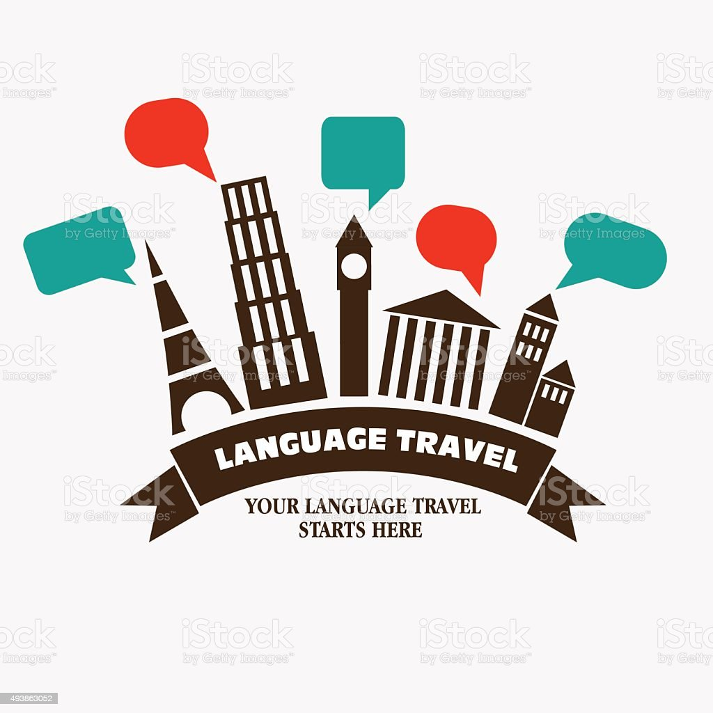 World landmarks with speech bubbles. Famous monuments vector illustration vector art illustration