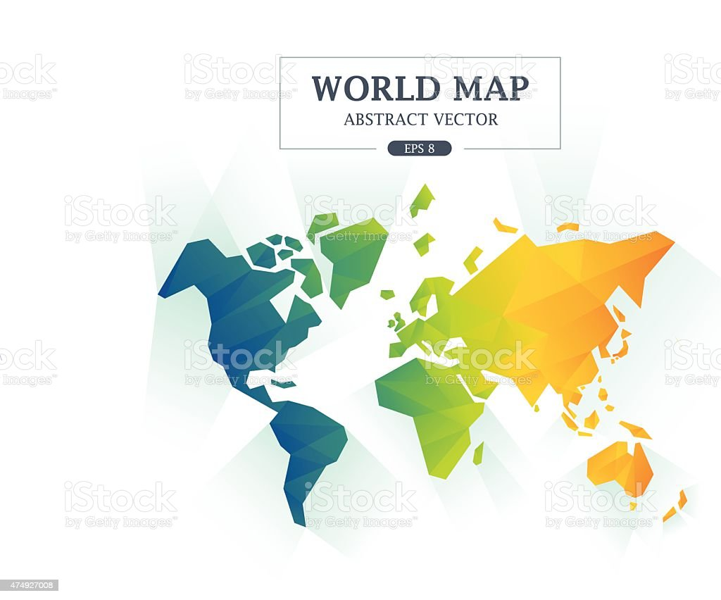 World Map Abstract Full Color vector art illustration