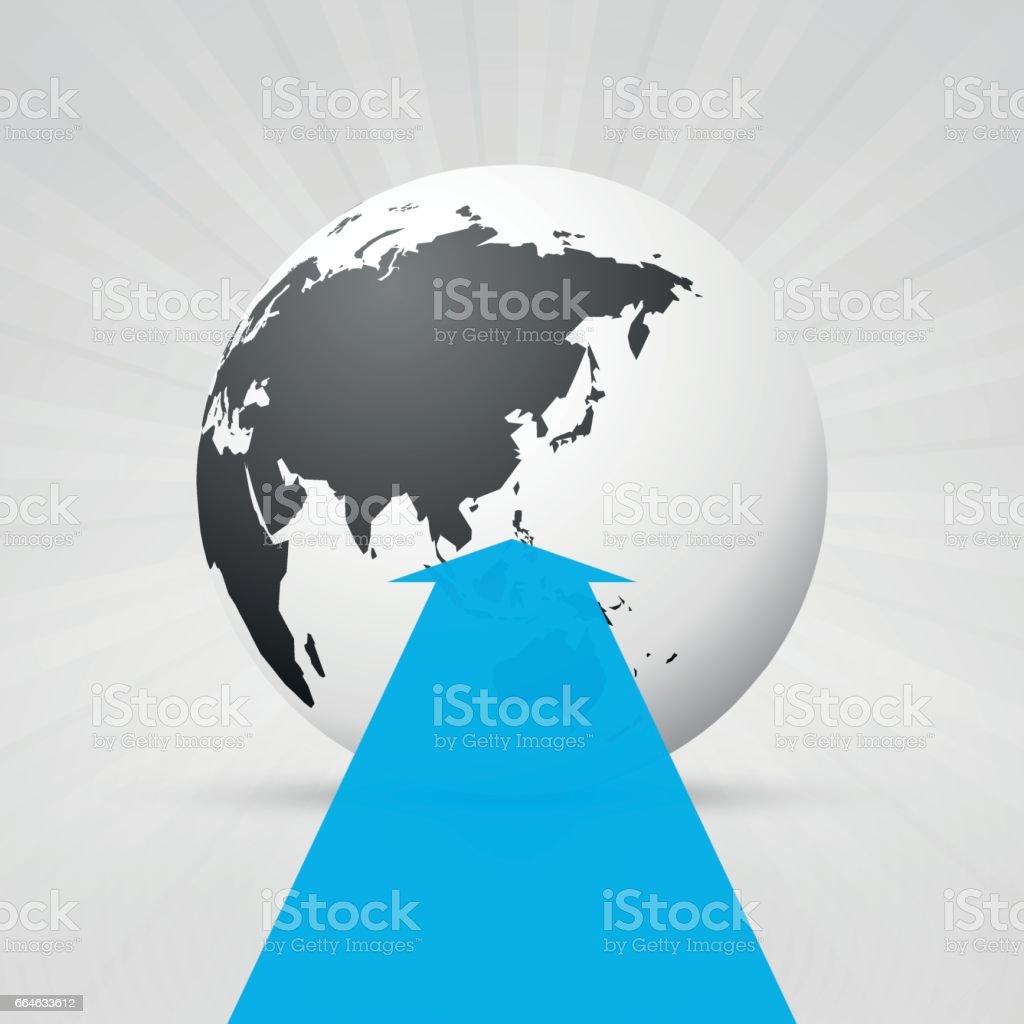 World map and blue arrow stock vector art 664633612 istock world map and blue arrow royalty free stock vector art gumiabroncs Gallery