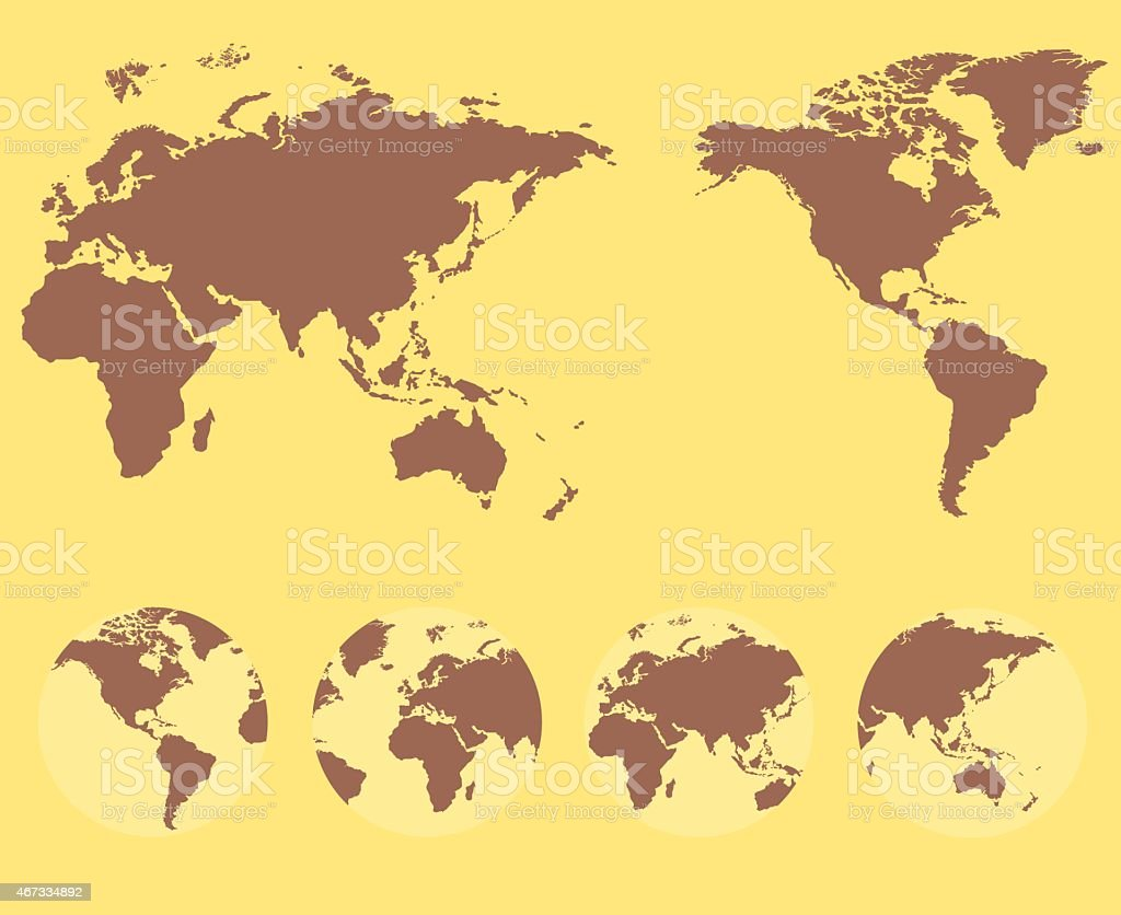 World map and compass of vector illustration vector art illustration