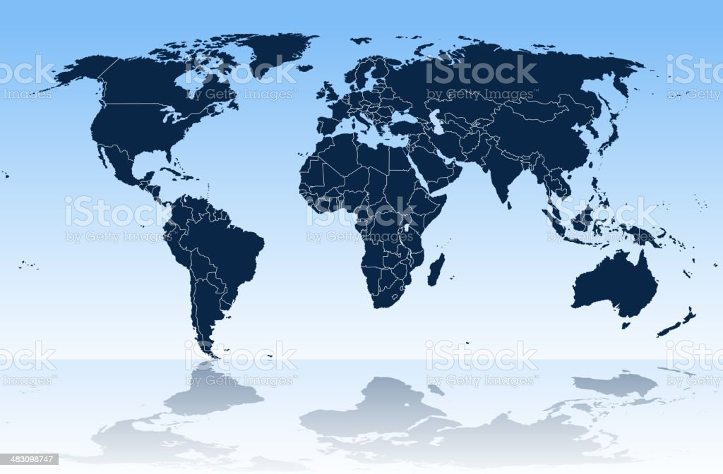 world map and continents royalty-free stock vector art