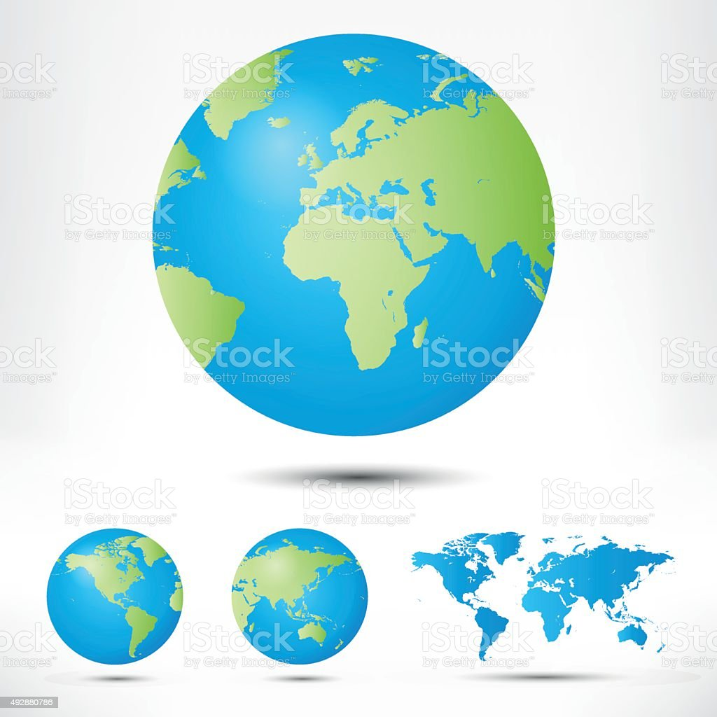 World map and globe detail vector illustration. vector art illustration