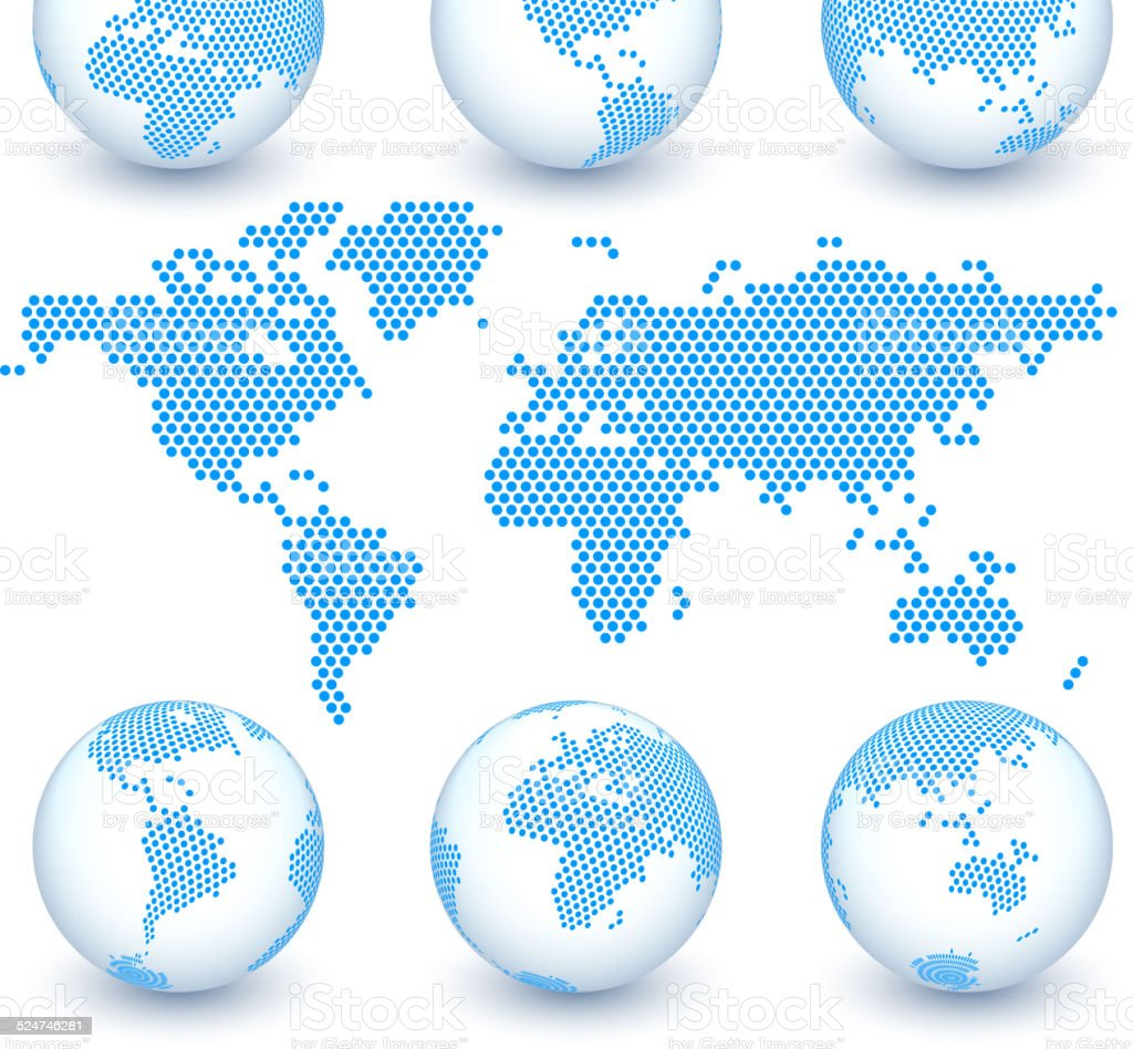 World Map and Globe Set royalty free vector art vector art illustration