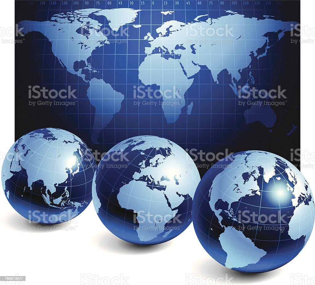 World map and globe royalty-free stock vector art
