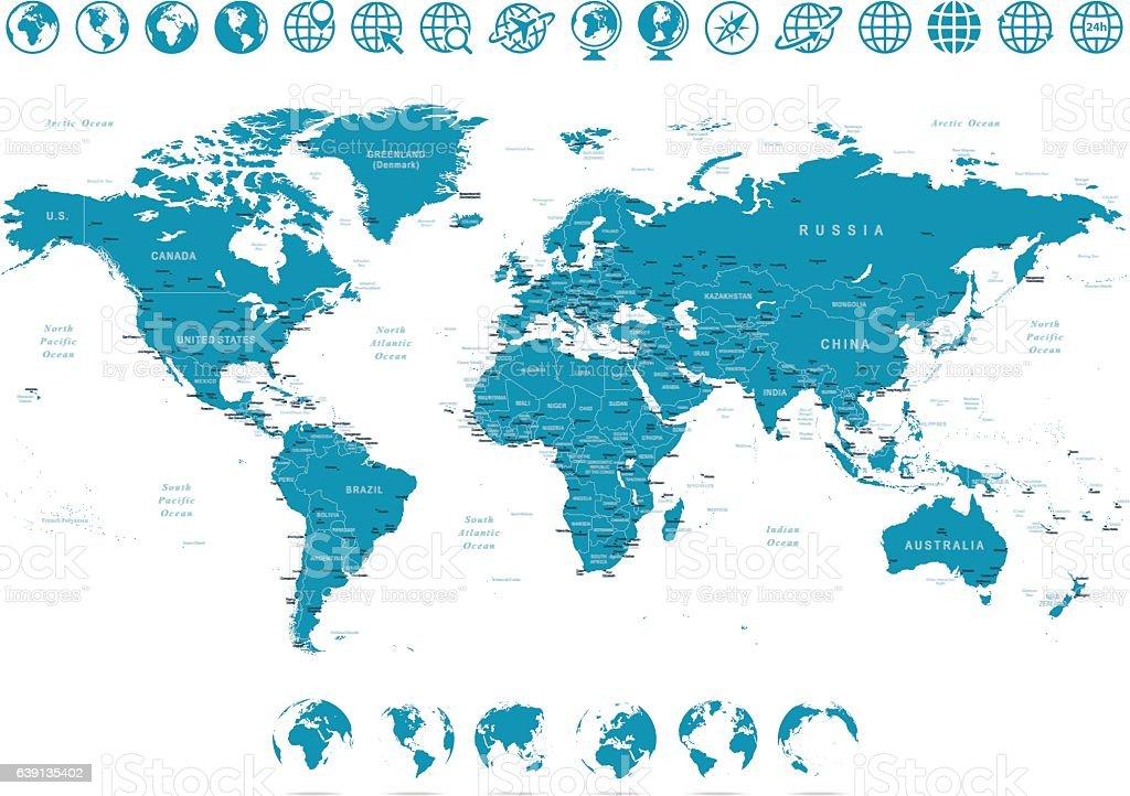 World Map and Globes - illustration vector art illustration