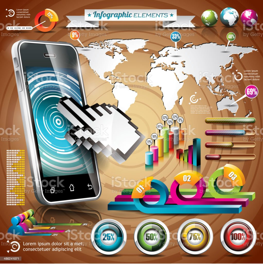 World map and information graphics on mobile phone. royalty-free stock vector art