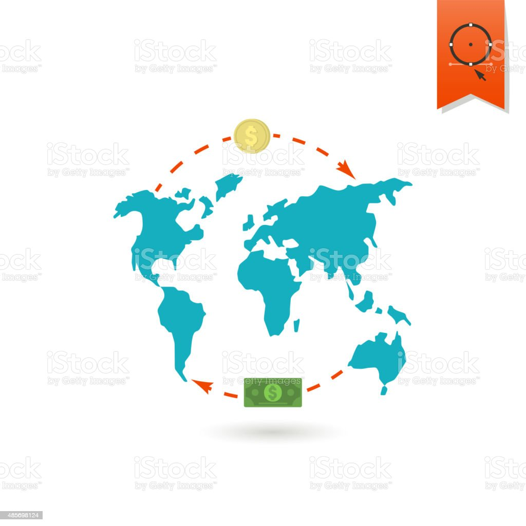 World Map and Money vector art illustration