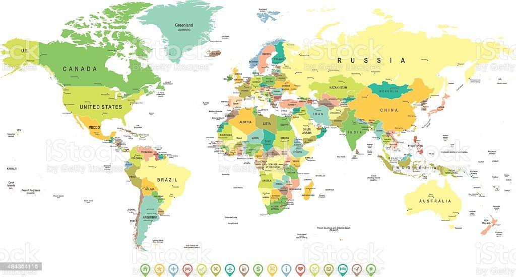 World Map and Navigation Icons - illustration vector art illustration