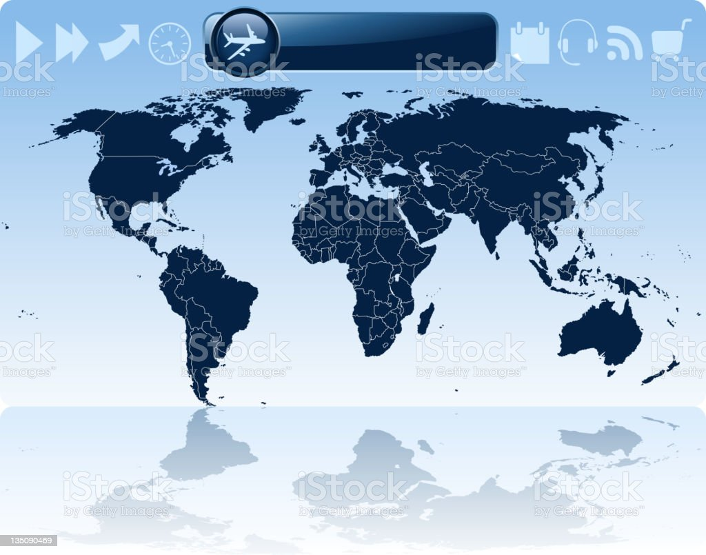 world map and symbols royalty-free stock photo
