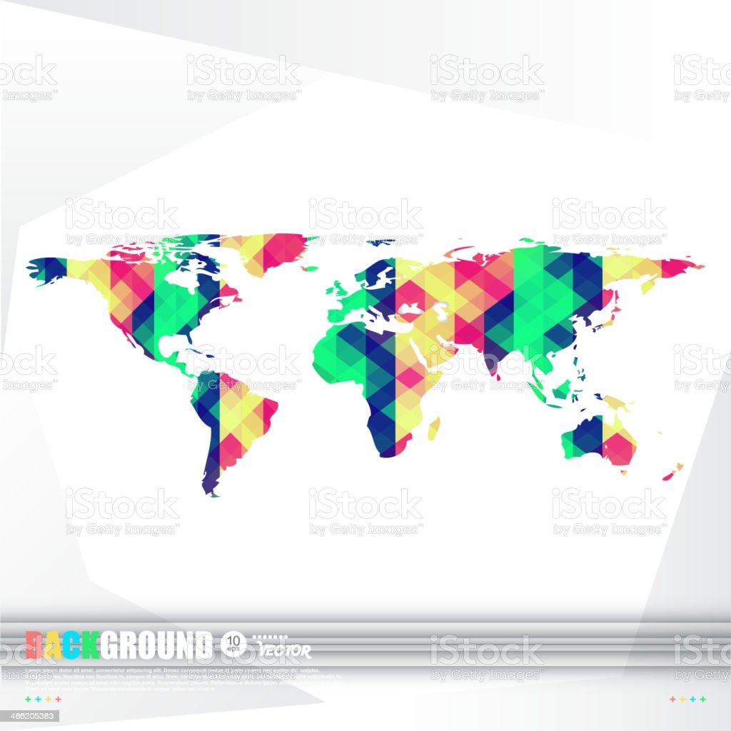 World map background in origami style. royalty-free stock vector art