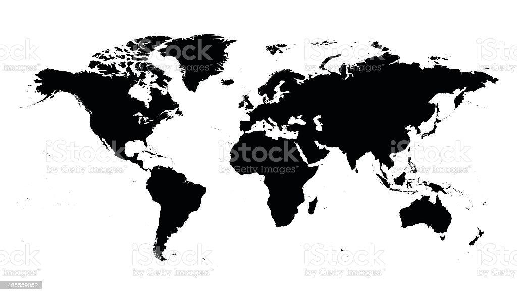 World map black silhouette vector art illustration
