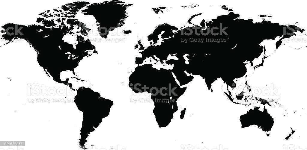 World Map Black vector art illustration