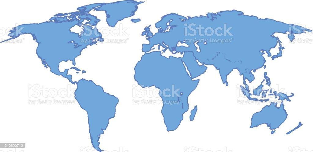 World map blue colored on a white background illustracion libre de world map blue colored on a white background illustracion libre de derechos libre de derechos gumiabroncs Images